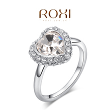 ROXI pure heart rings,platinum palted top quality make with genuine Austrian crystals, 100% hand made fashion jewelry,2010008415(China (Mainland))