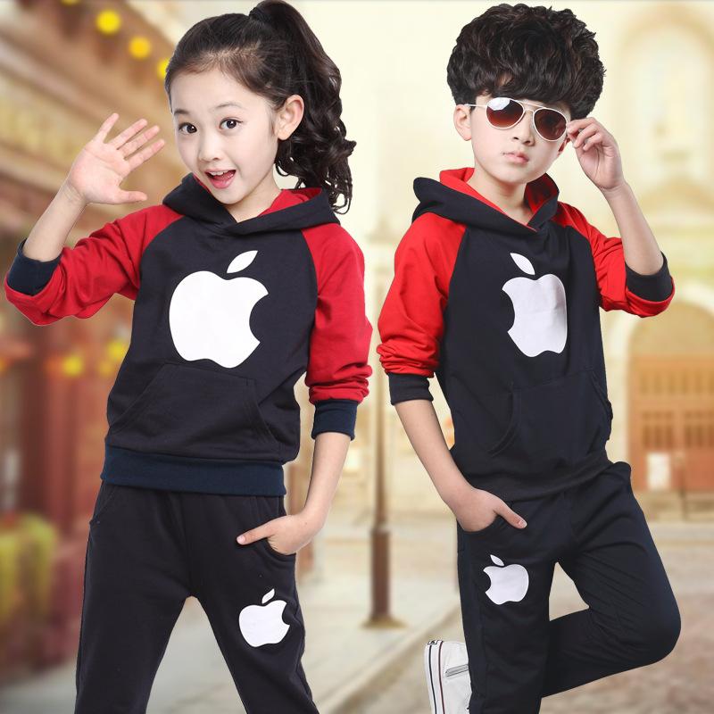 Kids Clothes Boys Girls Autumn Coats children's clothes 2PCS/Set Fashion Children Clothing Sports Suit Tops + Pants Letters Sets(China (Mainland))