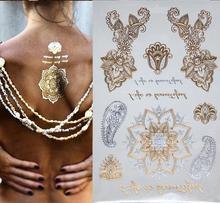 300 estilo corrente de ouro tatuagem temporária arte Corporal tatoo tatuagem flash tattoo metallic jóias tatuagem temporária tattoost adesivos