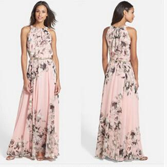 Maxi Dress Women Long Dress Summer Style 2015 New Elegant Ladies Chiffon Clothes Sexy Printing Sleeve Big Size Vestido Mujer C82(China (Mainland))