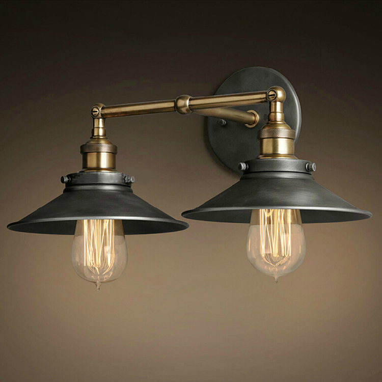 Wall Lights For Old Cottage : Free Shipping Cottage Vintage Country Style Wall Lamps 2 Lights Black Painting 110V 220V Wall ...