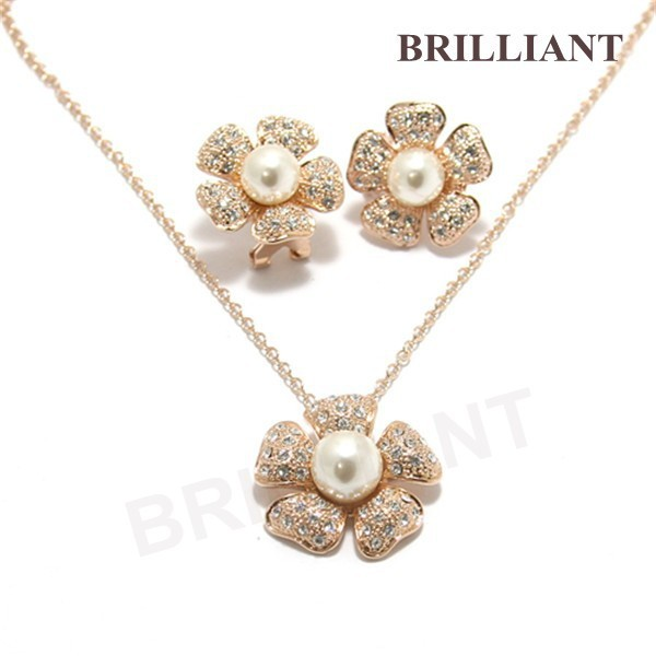 BS264 Elegant Flower Pearl Pendant 18K Rose Gold Plated Italina Jewelry Sets Necklace & Earrings Snowflake Crytals - Brilliant store