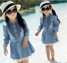 2015 Girls Jeans Dress Fashion Dress Girls Kelp Denim Girl Summer Denim Dress for kids Jeans Tutu Dresses(China (Mainland))