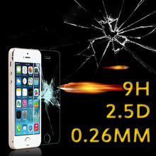 5000pcs 0.26mm 9H hardness 2.5D arc edge anti shatter tempered glass screen protector for iphone 5s 5G 5C 4S 4G Free shipping
