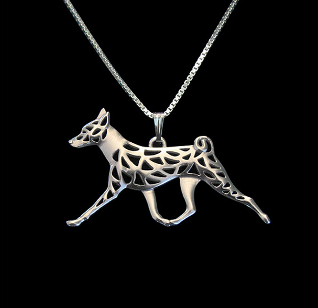 1PC Basenji Movement Necklace 3D Hollow Animal Lover Pendant Memorial Necklaces Christmas Gift For Women Men Friend(China (Mainland))