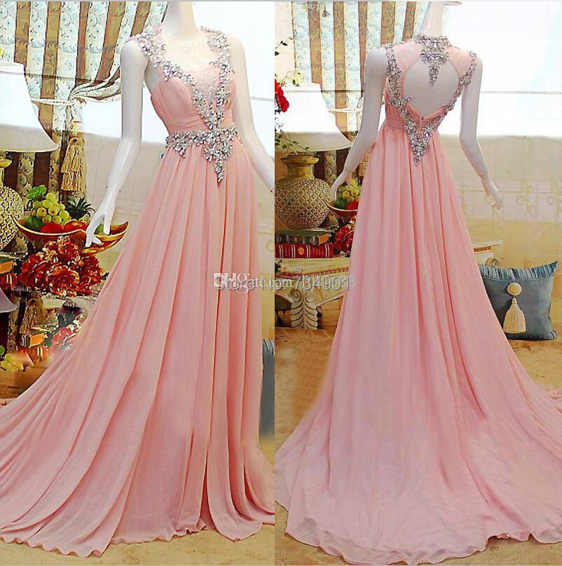 Custom made!2015 Elegance Chiffon A-Line Floor-Length Tank Natural Crystal Sleeveless Scoop Court Train Evening dresses - DENIA'S BRIDAL store
