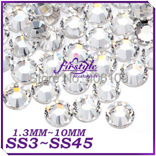 SUPER SHINY 2028 CRYSTAL Clear Non Hotfix Flatback Nail Art Rhinestones Size SS3 SS4 SS5 SS6 SS8 SS10 SS12 SS16 SS20 SS30 SS50(China (Mainland))