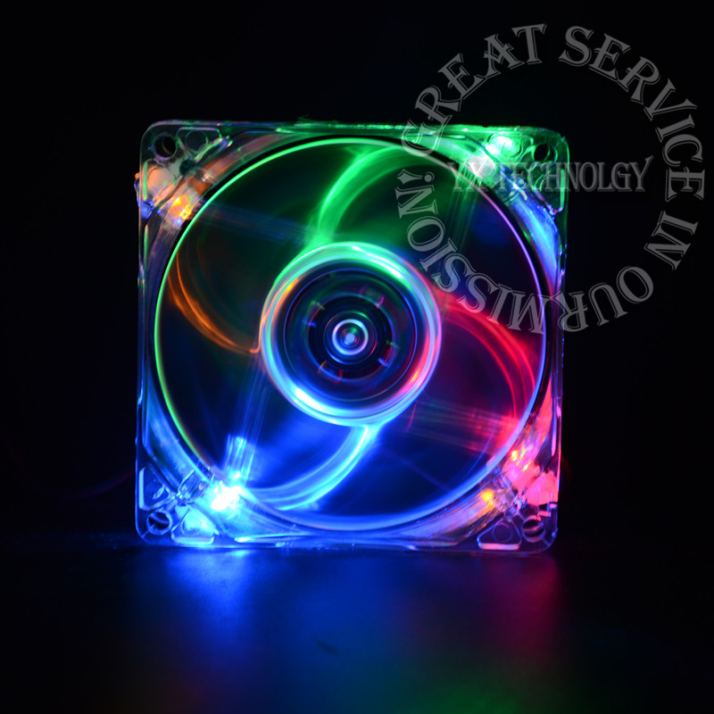 pc computer fan case cooling fan unit fan 8025 8cm with LED lights chassis fan 80 * 80 * 25(China (Mainland))