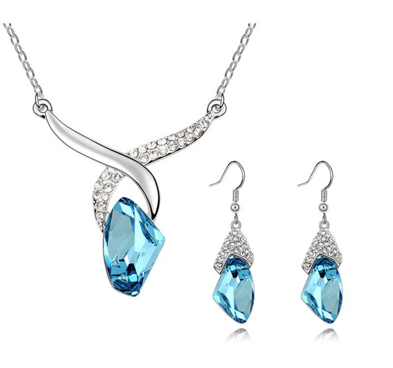 Crystal Jewelry Sets Women Silver Plated Pendant Necklaces Rhinestone Drop Earrings Luxury Dress Accessories - Bimande store