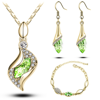 Rose Gold Plated Crystal Drop Jewelry Set