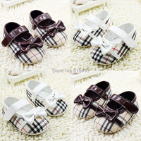 New Arrivals 2-colors stitching printing bowknot toddler baby shoes children's pre walker new born shoes 7408