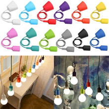 Overvalue E27 E26 Socket Chandelier light Fixture Hanging line Colorful Silicone Rubber Ceiling Pendant Lamp Base Holder(China (Mainland))