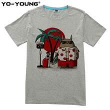 Yo-Jonge Mannen t-Shirts Anime Totoro Casual Print 100% 180g Gekamd Katoen Unisex Zomer Top Tees Homme Aangepaste(China)