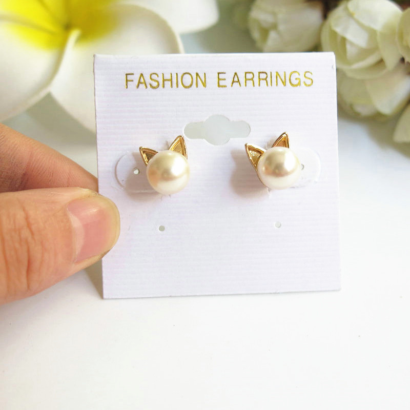 New Arrival Cute Pearl Cat Ear Gold Stud Earrings For Women , Free Shipping(China (Mainland))