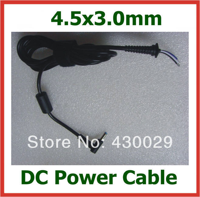 50pcs DC Plug 4.5*3.0mm / 4.5x3.0mm DC Power Supply Cable for HP Dell Ultrabook Laptop Charger DC Cable Around 1.8m(China (Mainland))