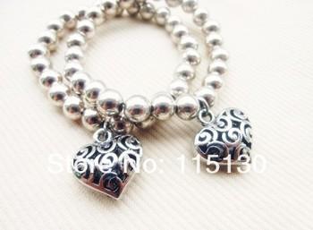 Vintage Silver Plated Beads Heart Charm Bracelets Hot Selling Shamballa Bracelets For Women Promotion Fashion Jewelry Wholesale