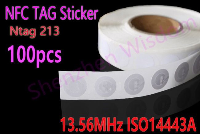 100pcs NFC Stickers Ntag213  RFID Tag 13.56MHz ISO14443A NFC Sticker for all NFC phones