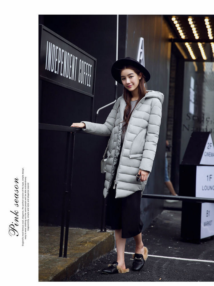 Ukraine Top Fashion Real Solid Zipper Thin 2016 Korean Winter Long Fashion Lady Down Padded Female Jacket Factory Wholesale