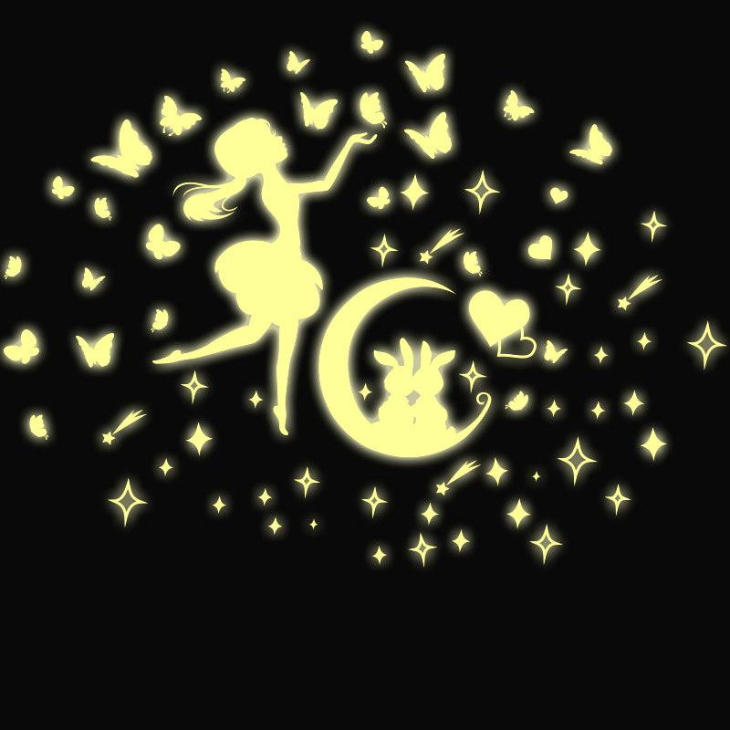 Luminous star glow in the dark home decoration space rocket UFO Universe planet rabbit Girl Butterfly Wall Sticker A4 paper size(China (Mainland))