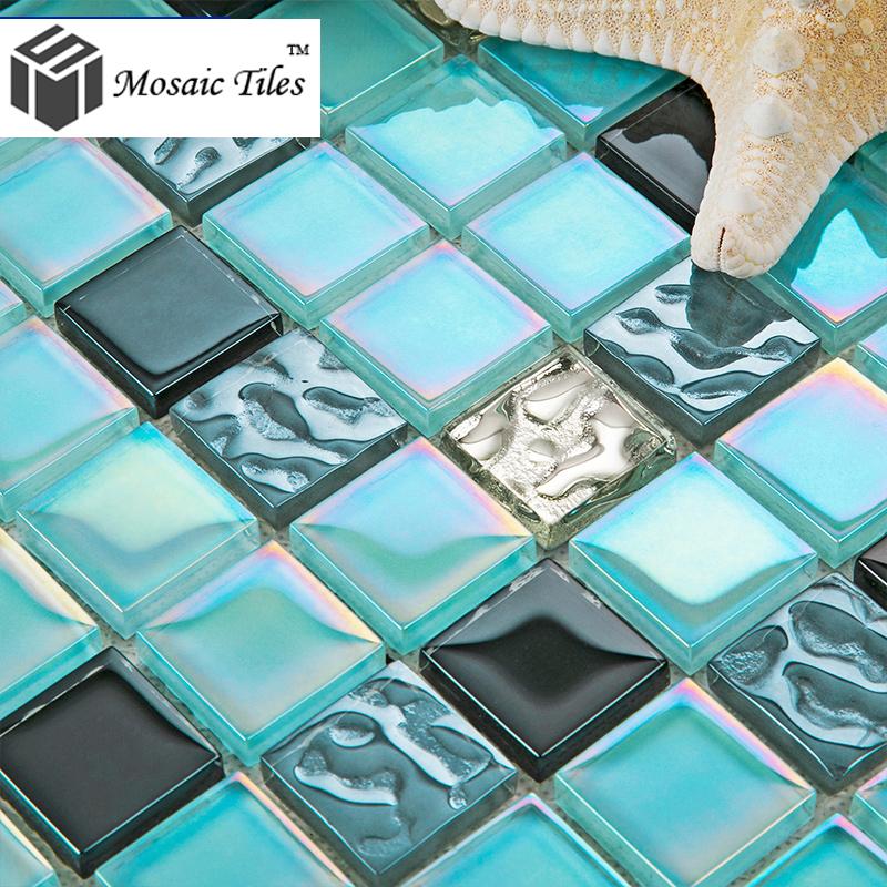Light blue glass tile backsplash
