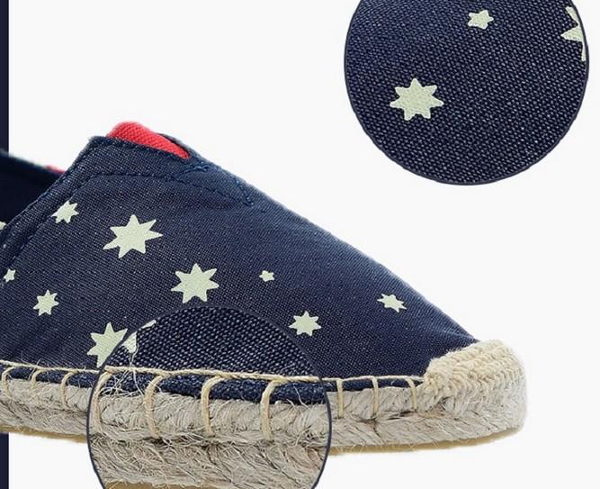 women and men espadrilles alpargata canvas shoes flag patten sapatos flat loafers plus size for summer