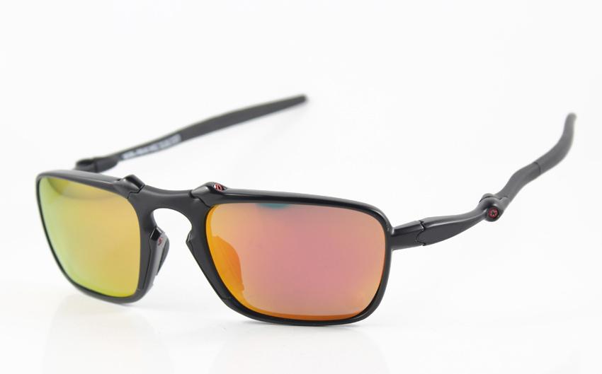 New Style Designer Metal Sunglasses Mens/Women's Brand Name Badman OO6020-05 Black Sunglass Fire Iridium Red Logo Polarized Box(China (Mainland))