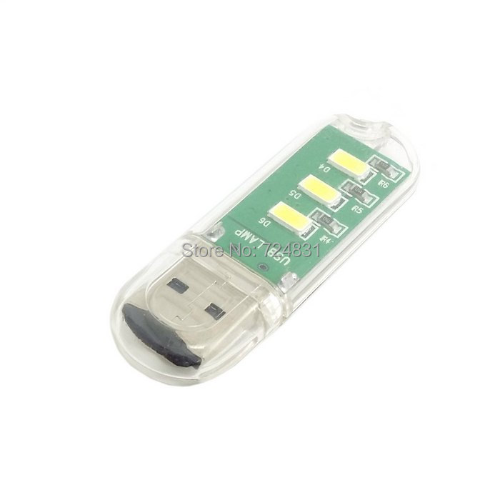 CY USB Flash Disk Shape Mini Portable USB Power 3 SMD LED 1W Night Laptop Light Reading Lamp White(China (Mainland))