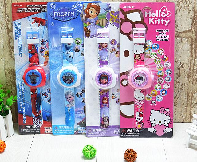 hello kitty sofia spider-man Elsa Anna big hero 6 avengers projection 20 design Figure Digital watch baby toy kids favorite gift(China (Mainland))