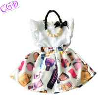 2016 Summer New Children Easter Clothing Sets Girls Sleeveless Chiffon Top+Skirt 2 pcs Suit Baby Girl Kids Princess Set Vestido