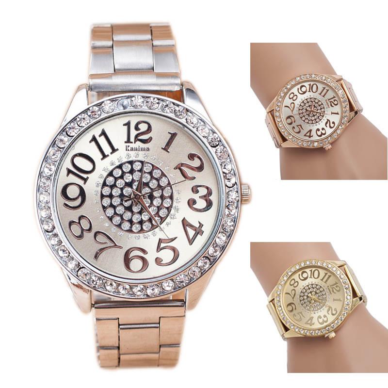 Look!Luxury Diamond Stainless Steel Sport Quartz Wrist Hour Dial Watch Freeshipping &Wholesale(China (Mainland))