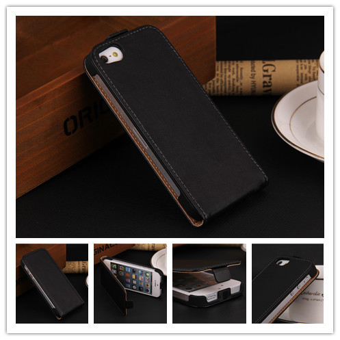 Luxury Genuine Leather Flip Case for Apple Iphone 4 4S 4G Cover Back Cases Free shipping Wholesales