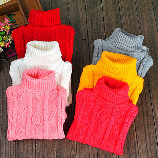 free shipping childrens sweaters new 2014 autumn winter turtleneck boys& girls knitted sweater baby turtleneck suit 2~12 age(China (Mainland))
