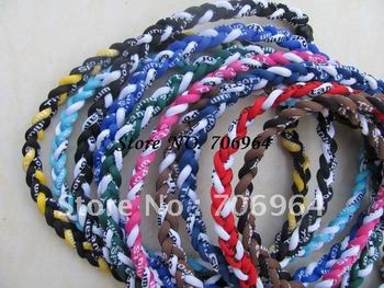 Germanium and titanium necklace tornado 3 ropes sports Hockey baseball football college braid necklaces  withou packaging