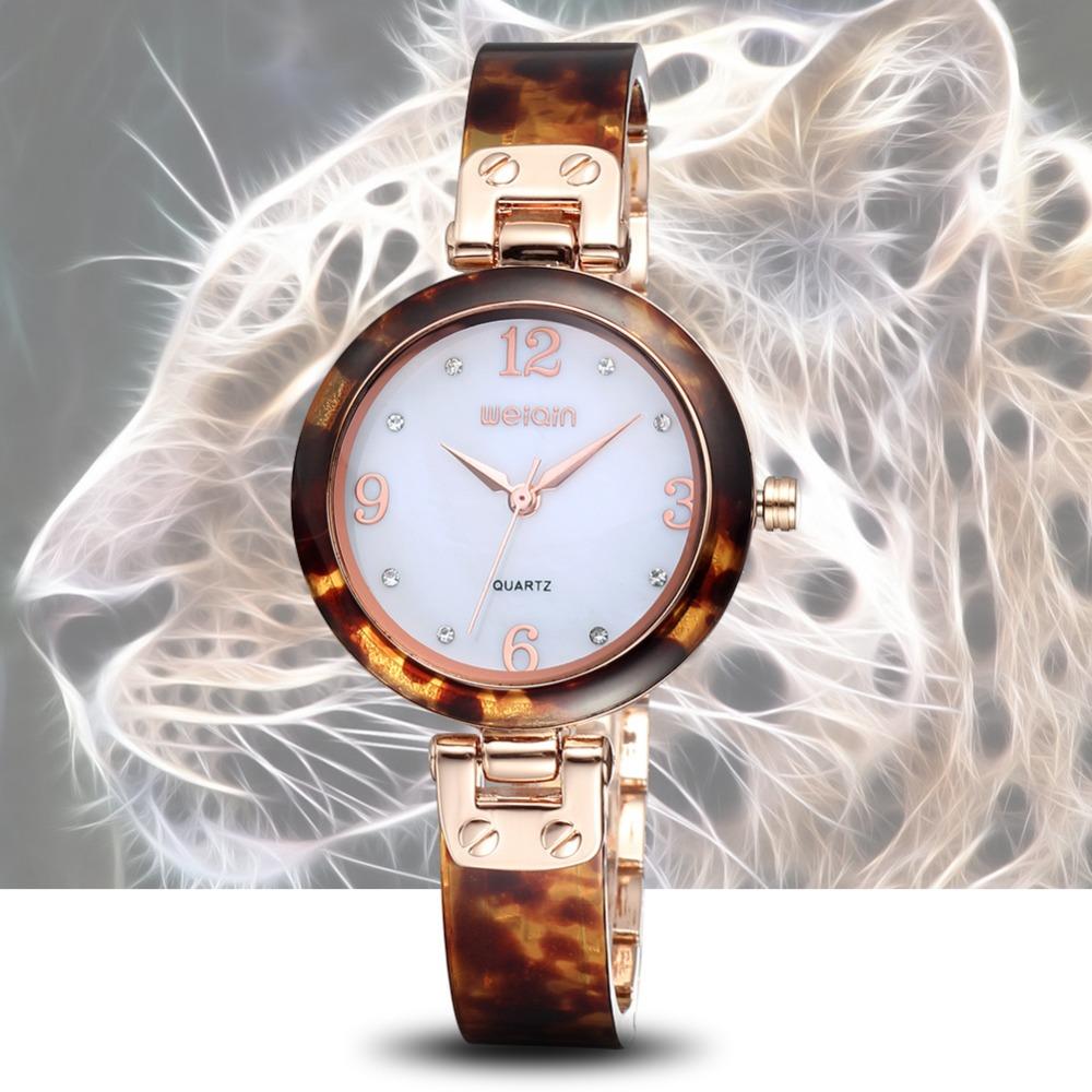 WEIQIN Arcuated Hardlex Resin Rhinestone Yellow Gold Watch Women Luxury Brand Fashion Dress Watches Time Hours Relogio Feminino - JIANGYUYAN store