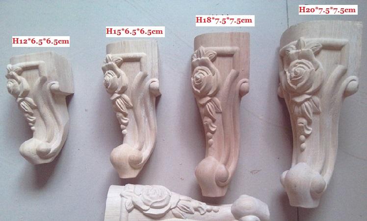 4PCS/LOT 18*6.5*6.5cm Rubber Wood Carved Furniture Leg Legs Feet(China (Mainland))