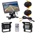 Dual Backup Camera and Monitor Kit For Bus Truck RV IR LED Night Vision Waterproof Rearview