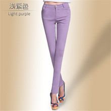 Drop Ship Colored Stretch Fashion Female Candy Colored Pencil Women s Pants Sexy Elastic Cotton Jeans