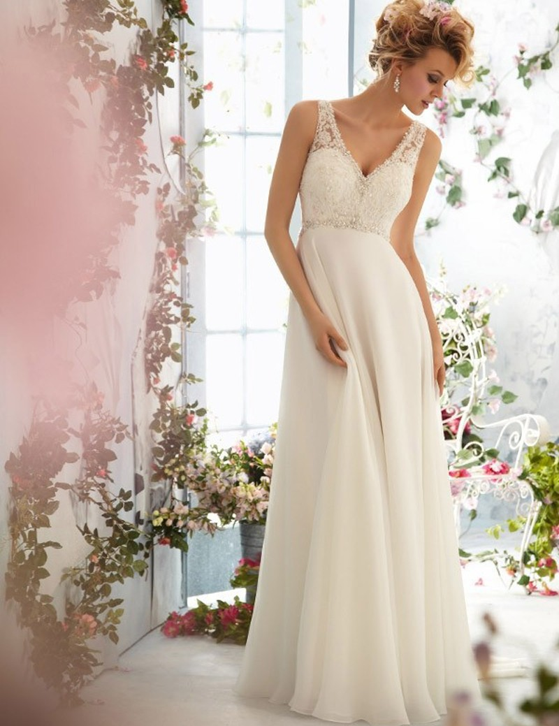 Low V Back Wedding Dresses : Chinese hand made wedding dress chiffon low back v neck sexy