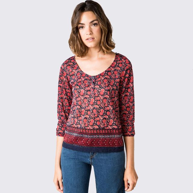 Женская печати семь печать с длинным рукавом футболки лоскутное о-образным вырезом кружева футболка женская