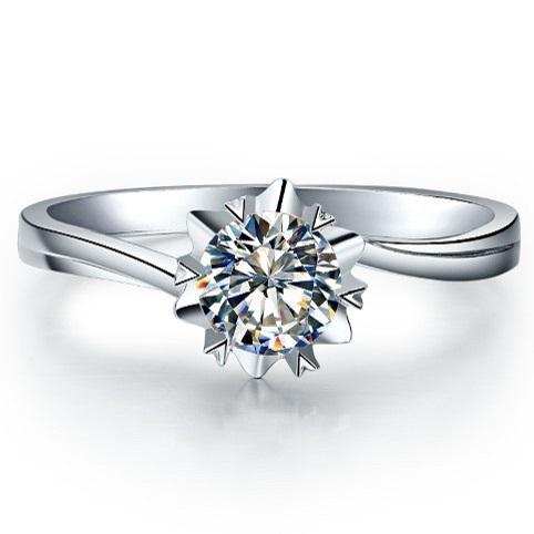 0.5 Carat Solid 14K Gold Snow Flake Style Design CHARLES&COLVARD Moissanite Wedding Ring For Women Romantic Anniversary Gift(China (Mainland))