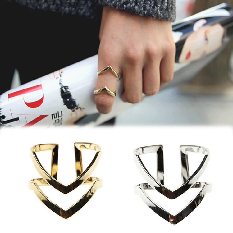 Fashion Gold Silver Plated Double V shaped Half Opened Adjustable Vintage Woman Rings Charming Jewelery RING