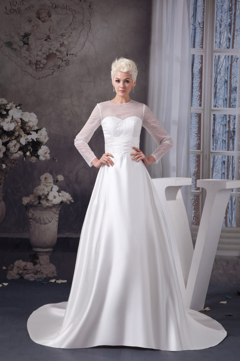 High neck long sleeve wedding dress with satin ankle for Ankle length wedding dress with sleeves