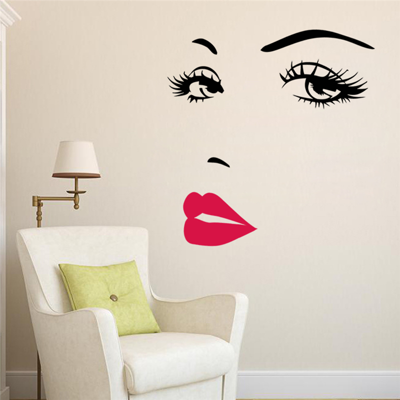 Sexy Girl Lip Eyes Wall Stickers Living Bedroom Decoration Zooyoo8469 Diy Vin