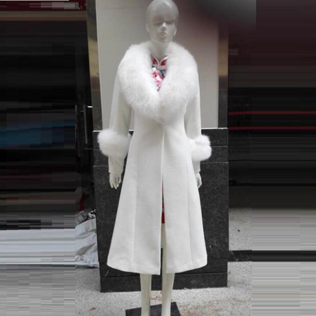 Новые Зимнее Пальто Женщин Тонкий Длинный Большой Меховой Воротник Шерсти Пальто Женщины Толстый Теплая Куртка Пальто И Пиджаки Манто Femme парки