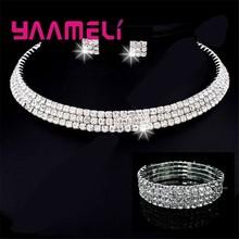 Ankunft Feine Schmuck Sets 925 Sterling Silber SW ELEMENT Kristall Halskette Ohrring 4 Linien Armband Engagement Hochzeit(China)
