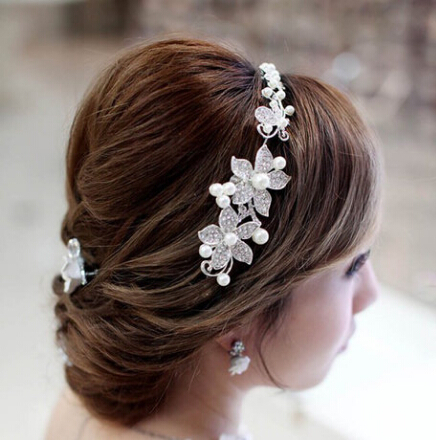 crystal flower bridal headband wedding hair jewelery rhinestone woman accessories XB07 - Kay's Wedding store