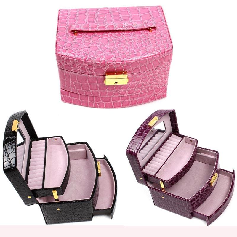 Luxury PU Leather Jewelry Gift Box 3 Layers Jewellery Display Storage Box Packaging Case Organizer joyero organizador BZ870777(China (Mainland))