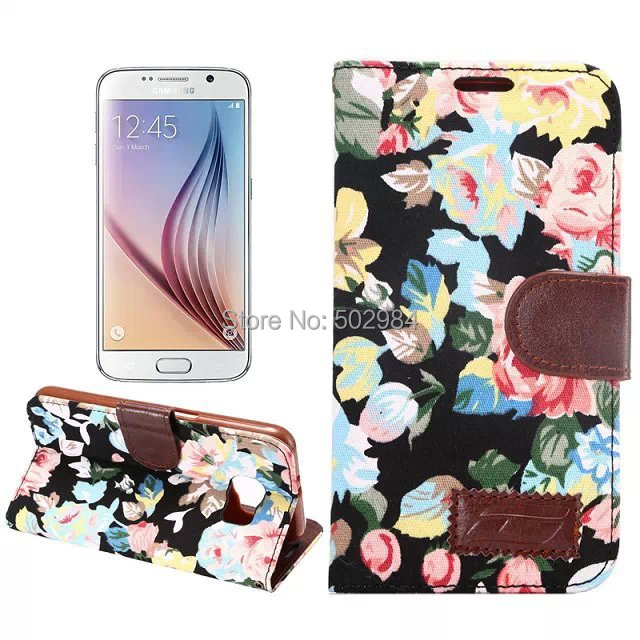 Flower Gyrosigma Fip Wallet Leather Case Samsung Galaxy S6 Project Zero G9200 Cover PU Jean Cloth Credit ID Card Slot - World Business Partner store