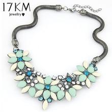 Brand designer New hot sell Fashion Retro style Colorful gem rhinestone flower choker necklace Statement jewelry women 2014 M13(China (Mainland))