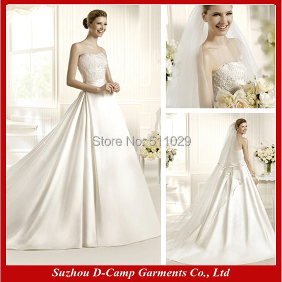 Free shipping wd 2471 strapless a line satin a line for A line style wedding dresses